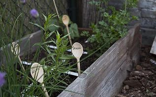 fun garden markers and plant support in my vegetable garden, gardening, Wooden kitchen spoons mark herbs and seeds