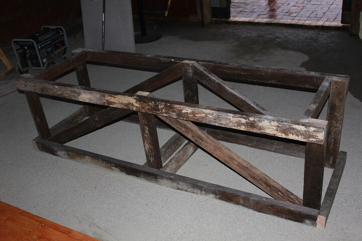 12 reclaimed barn wood trestle table, diy, woodworking projects, Trestle  Frame we made - 12' Reclaimed Barn Wood Trestle Table Hometalk