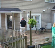new roof over deck with columns and beadboard ceiling, curb appeal, decks, woodworking projects, existing deck