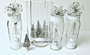decorating in vases to create a christmas glass vignette and snow, crafts, seasonal holiday decor, Using Dollar Store Vases and Christmas decorationsto create a Christmas Vignette