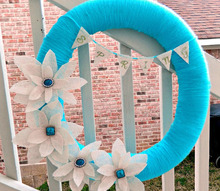 spring yarn wreath with burlap flowers, crafts, seasonal holiday decor, wreaths