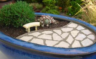 create your very own miniature garden patio, crafts, gardening, What a beautiful setting Visit the blog to win a copy of Gardening in Miniature and A Gift Certificate to Two Green Thumbs to add some stylish details to your garden like this fabulous little garden bench