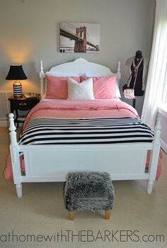 teen girl room makeover, bedroom ideas, home decor, Painted Bed with Maison Blanche Chalk Paint in Magnolia
