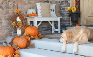 fall porch and diy outdoor bench, porches, seasonal holiday decor
