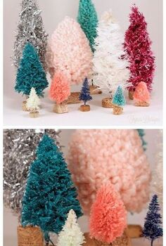diy bottle brush trees, cleaning tips, crafts, Bottle Brush trees with yarn garland twine and rope