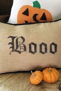 no sew pottery barn inspired boo pillow, crafts, halloween decorations, seasonal holiday decor