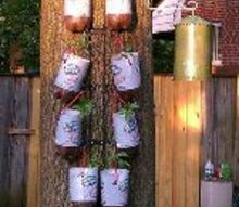 homemade topsy turvy bags hanging plastic bottle planters, container gardening, crafts, gardening, repurposing upcycling, This pic is 8 pepper plants hanging on a 4 plate black metal rack that I turned upside down so the plants wouldn t be sitting right on top of each other