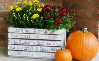 autumn diy word art crate, crafts, gardening, repurposing upcycling, seasonal holiday decor
