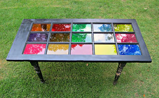 how to repurpose a glass door into a colorful table, painted furniture, repurposing upcycling, I used DecoArt Glass Stain in multiple colors My kids actually painted all the glass