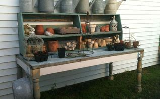 a pile of salvage a hutch top a to die for potting bench, diy, gardening, painted furniture, repurposing upcycling