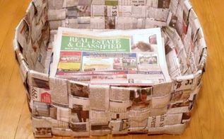 newspaper basket, crafts, repurposing upcycling