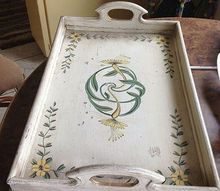 q estate sale tray, crafts, painting