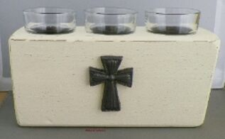 rustic three candle votive holder, home decor