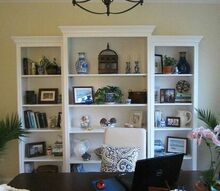 home office reveal, craft rooms, home decor, home office, When I bought these bookcases they were cream so I painted them Decorator s White to match the crown molding in the room
