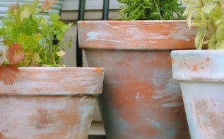 how to age new garden pots, crafts, painting, It s easy to age new pots to a lovely time worn patina with this simple tutorial