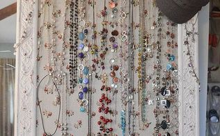 how to organize your jewelry with thrifted and vintage items, organizing, I took an old flea market frame and made it into a bulletin board for my longer necklaces A tray from an estate sale holds my bracelets