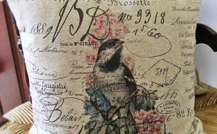 diy vintage french script bird pillows for free, crafts, Iron on transfers from The Graphics Fairy give the pillow a new identity Thanks Karen