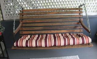 buggy seat turned porch swing, outdoor furniture, outdoor living, painted furniture