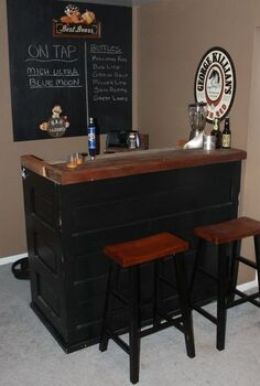 how to recycle re purpose and reuse everything, repurposing upcycling, Our Bar made from 2 huge old doors and some solid oak beams it has room for a keg fridge and 3 more shelves in back