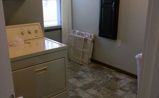 what would you do with an l shaped laundry room, home decor, laundry rooms, The after from the doorway I do love this linoleum