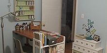 my thrifted craft room, chalk paint, craft rooms, home decor, How my craft room look so far It s coming along nicely It contains a thrifted vintage drafting table a DIY card catalog and a thrifted shelf