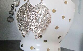 gold polka dot jewelry bowl, home decor, repurposing upcycling