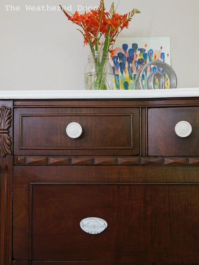A Dark Wood Dresser With a White Top Hometalk