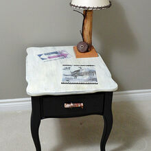 my end table makeover, painted furniture, rustic furniture, The finished table with rubbed on images using freezer paper