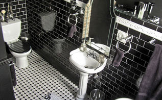 our black white amp classic master bathroom, bathroom ideas, diy, home decor, home improvement, how to, A more aerial view to try and convey the layout Despite being small it still packs quite a punch