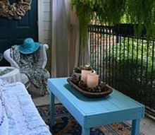 my new shabby chic porch from some discarded items, curb appeal, home decor, painted furniture, shabby chic, My husband made this cocktail table and we painted it turquoise blue