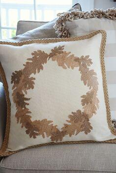 no sew burlap leaf pillow, crafts, seasonal holiday decor, EASY No Sew Fall Pillow