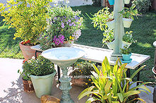 two lamps equals one birdbath, outdoor living, repurposing upcycling