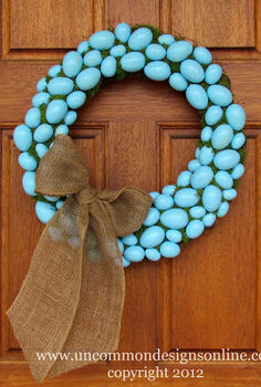 how to make a faux robin s egg blue wreath itching4spring, crafts, easter decorations, seasonal holiday decor, wreaths, Finished egg wreath with adorable burlap bow
