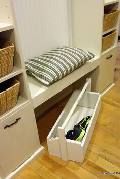 streamlining our entryway, foyer, shelving ideas, storage ideas, The toolbox is perfect for dropping shoes in when we are in a rush and great for toting all the shoes upstairs when they start piling up