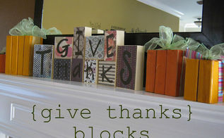 give thanks blocks, crafts, decoupage, home decor