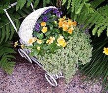 garden ideas, gardening, fire pit, repurposing upcycling, Our old not antique wicker baby buggy is a great planter