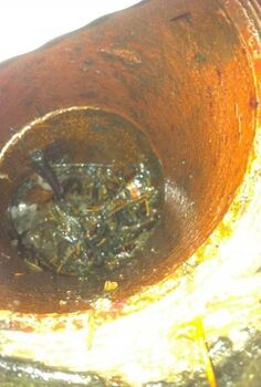 q how do i clean out downspout drainage pipe without a snake, home maintenance repairs, roofing, Gutter Gunk