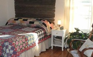 my new old stuff guest bedroom, bedroom ideas, home decor, repurposing upcycling, Quilts and headboard with bedside lamp from my grandmother