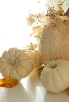 cornhusk covered pumpkin, seasonal holiday decor, Use real white pumpkins and fake pumpkins covered in cornhusk for your fall decor