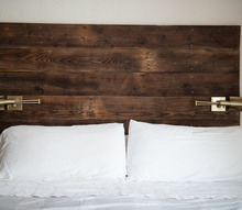reclaimed barn wood headboard and shelves, home decor, shelving ideas