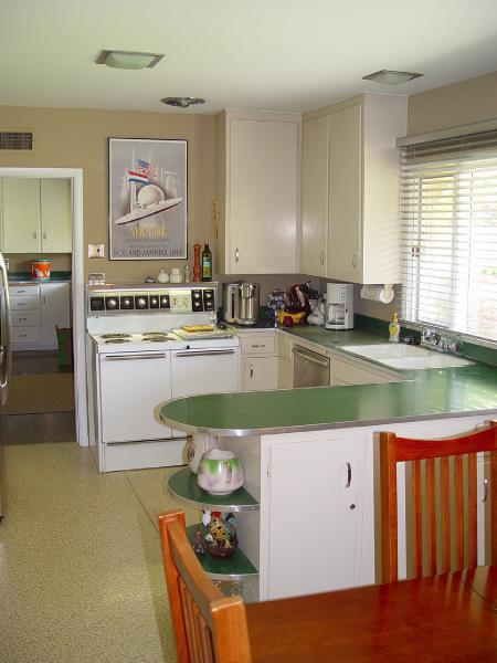 Spacious But Dead Green Laminate Counter Tops With Stainless Steel Edging Sheet Countertops Flooring