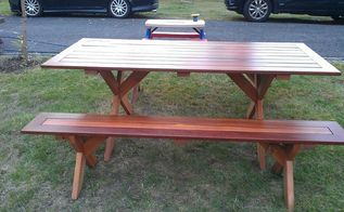 picnic table, diy, how to, painted furniture, woodworking projects, This picture shows what a little planning can accomplish I offset the battens and legs on the bench with the ones on the table so that the benches can fit under the table if needed