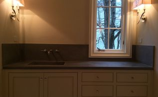 concrete bath vanity with integral sink back splash, bathroom ideas, concrete masonry, home decor, Burco Surface Decor LLC