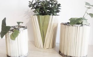 diy tin cans covered with natural straws, crafts