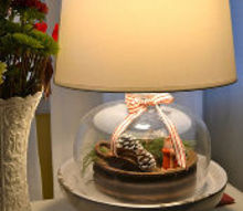 seasonal cloche lamp, christmas decorations, lighting, seasonal holiday decor, The cloche lamp sits on a pedestal to give it more height