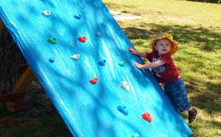 make the little one in your life a climbing wall for less than 50, diy, how to, outdoor living, woodworking projects, He knew exactly what to do