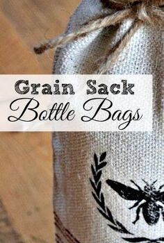 grain sack wine bottle bags with a bee transfer, crafts, repurposing upcycling