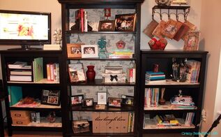 dressed up bookshelves, home decor, painted furniture, storage ideas