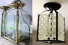 turn a dated brass foyer light into a classy circle patterned beauty, crafts, lighting, 5 brass light fixture got a stylish makeover