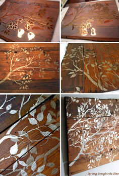 stencil some wood wall art pieces, crafts, Spring Songbirds Stenciled Wood Wall Art